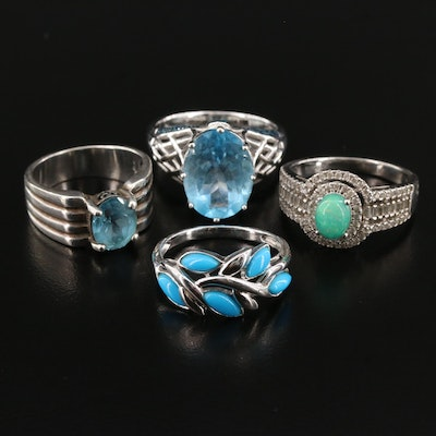 Sterling Silver Rings Featuring Blue Diamonds and Blue Topaz