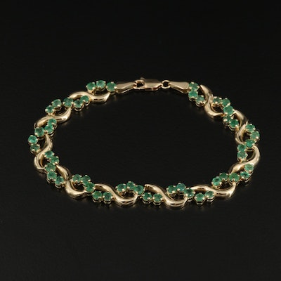 14K Gold and Emerald Bracelet