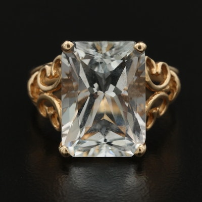 14K 12.00 CT Topaz Openwork Butterfly Ring