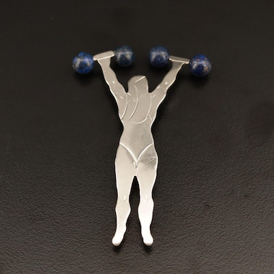 Sterling Silver Lapis Lazuli Weightlifter Brooch