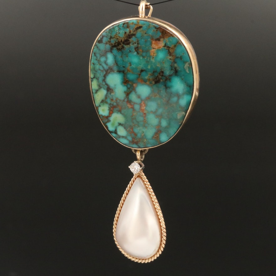 Sterling and Gold, Turquoise, Diamond and Pearl Enhancer Pendant