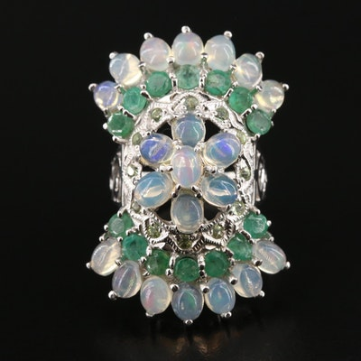 Sterling Silver Opal, Emerald and White Sapphire Cluster Ring