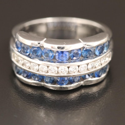 Charles Krypell 18K Diamond and 1.48 CTW Sapphire Ring with Presentation Boxes