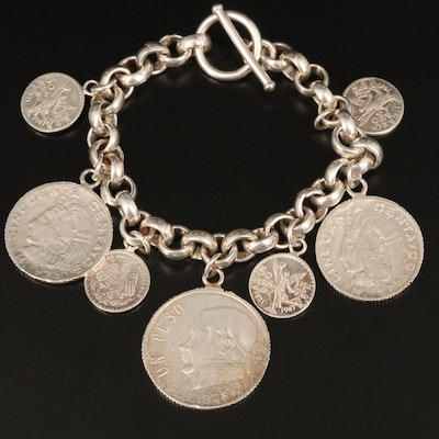 Sterling Silver Bracelet with Replica Coins