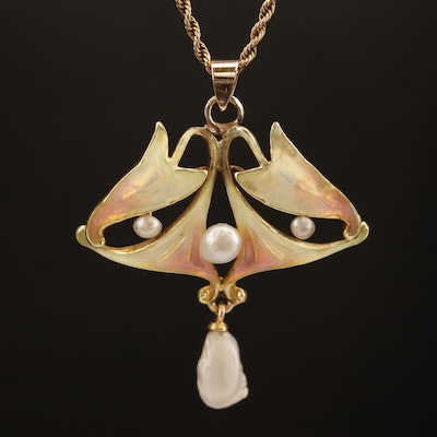 Art Nouveau Pearl and Enamel Pendant on a Rope Chain