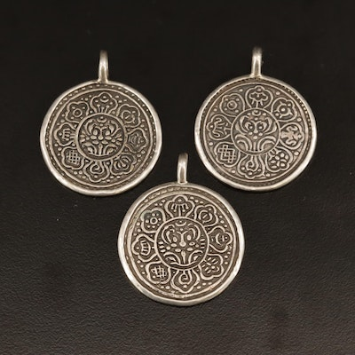 Medallion Pendants with Sterling Silver Accents