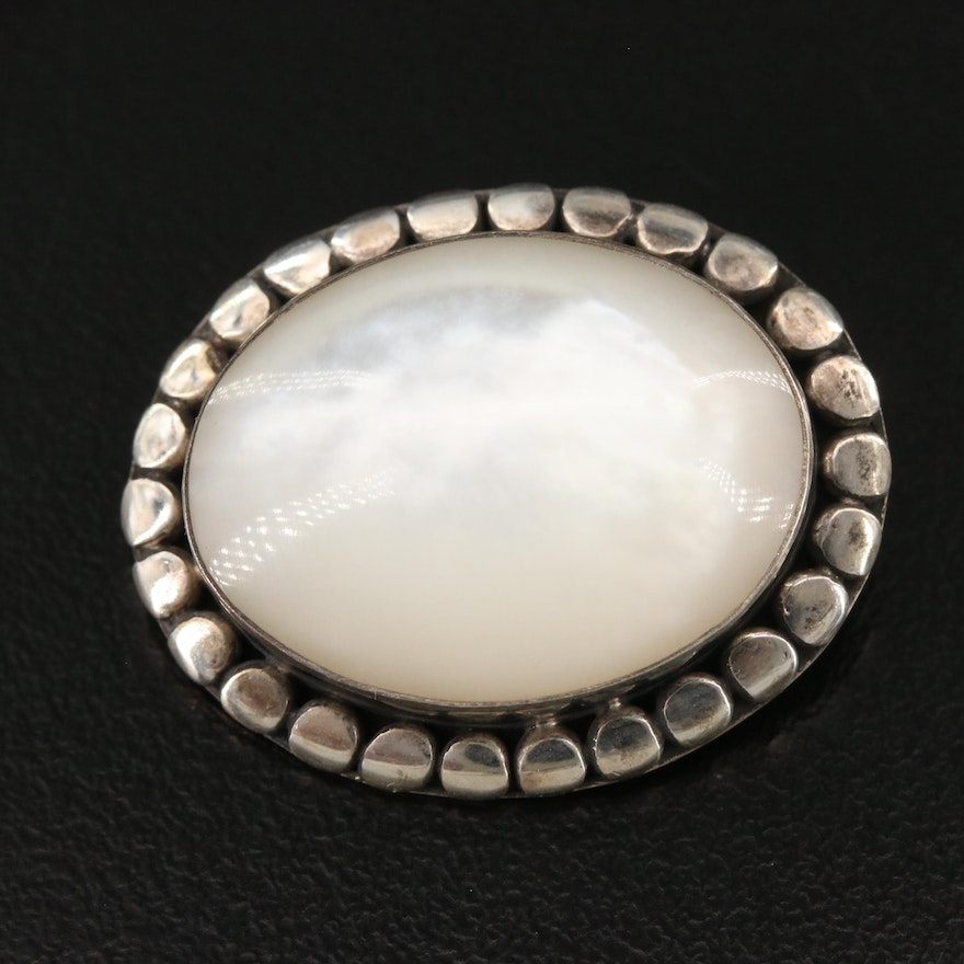 Sterling Silver Mother of Pearl Brooch