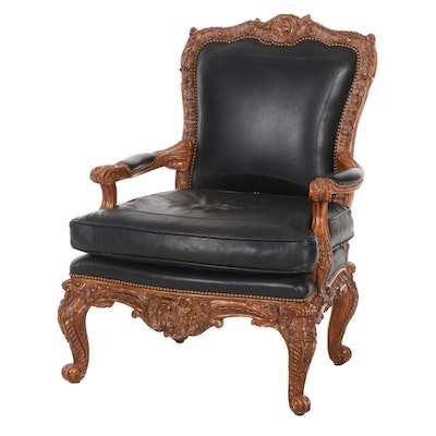Roccoco Revival Carved Wood Frame Leather Armchair, Late 20th Century