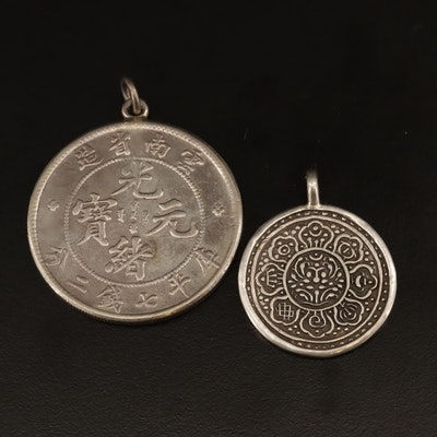 Sterling and 900 Silver Pendants Featuring Reproduction Chinese Silver Dollar