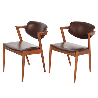 Pair of Danish Modern Teak Framed Armchairs, Mid-20th Century