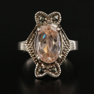 Sterling Silver Morganite and Marcasite Ring