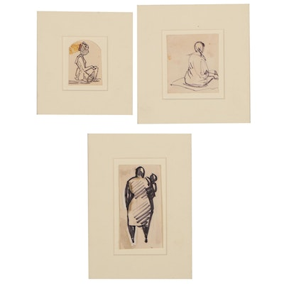 Henry Gasser Figural Ink Drawings, 20th Century