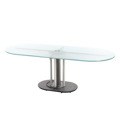 Contemporary Frosted Glass Top Dining Table, Late 20th Century