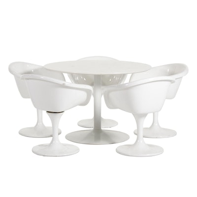 Mid Century Modern White Acrylic Table with Tulip Chairs, Mid to Late 20th C.