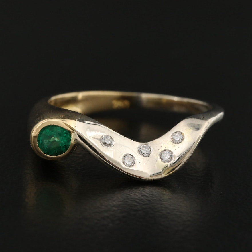 18K Two Tone Emerald and Diamond Wave Band