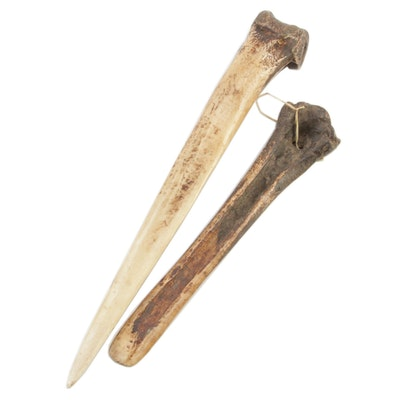 Primitive Ungulate Bone Flesher and Awl Tools