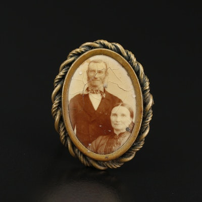 Antique  Ludwig Jacob and Justina Marie Weber Portrait Brooch