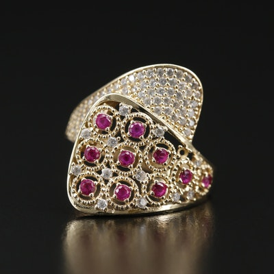 14K Ruby Ring with Cubic Zirconia Accents