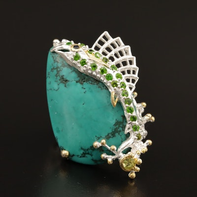 Sterling Magnesite, Diopside and Peridot Fish Motif Ring