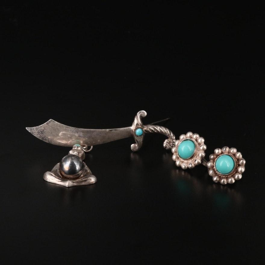 1940's Sterling Earrings Featuring 800 Silver Fortune Teller Pendant Brooch