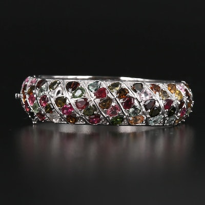 Sterling Silver Tourmaline, Rhodolite Garnet, Hinged Bangle
