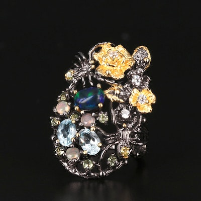 Sterling Silver Opal, Topaz and Cubic Zirconia Motif Ring