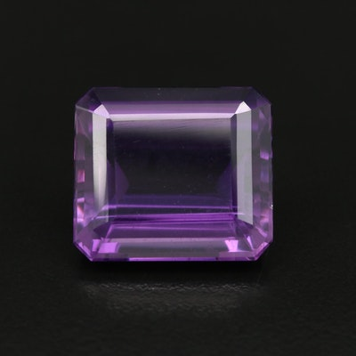 Loose 27.16 CT Cut Corner Rectangular Amethyst
