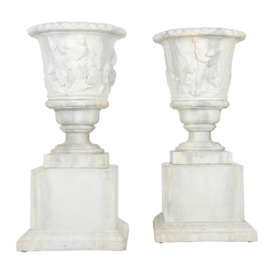 Monumental Pair Neoclassical Style Composite Urn Shaped Planters, Contemporary