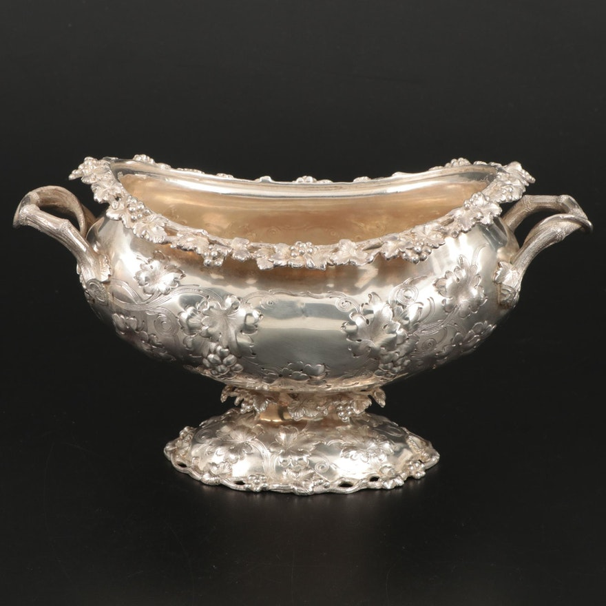 Ball, Black & Co. Repoussé Coin Silver Tureen with Vine Handles, 1851–1874