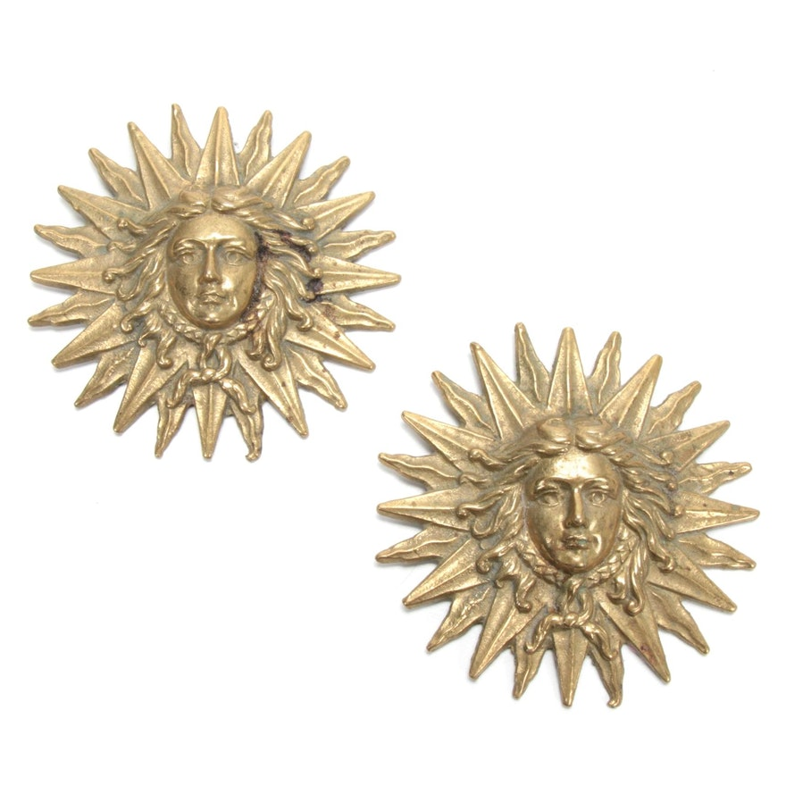 Louis XIV Sun King Emblem Brass Wall Plaques