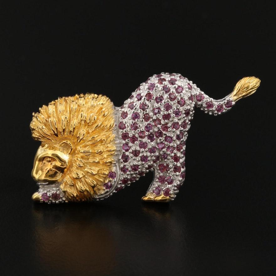 Sterling Garnet Lion Brooch