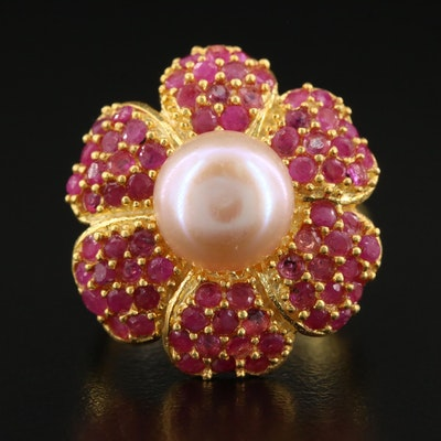 Sterling Pearl and Ruby Floral Ring