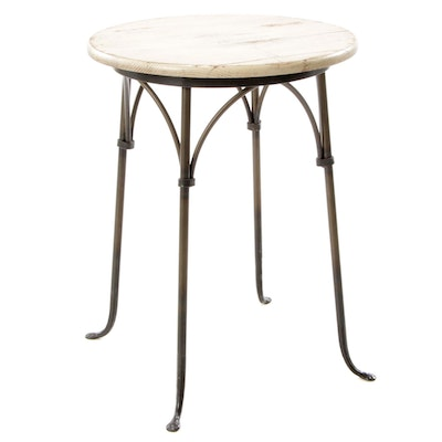 Charleston Forge Hand Wrought Iron and Rustic-Painted Wood Side Table
