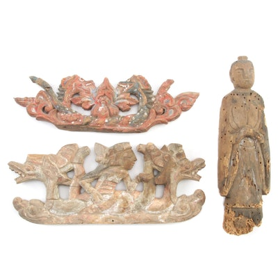 Balinese Polychrome Temple Offering Top with Carved Monk Statue