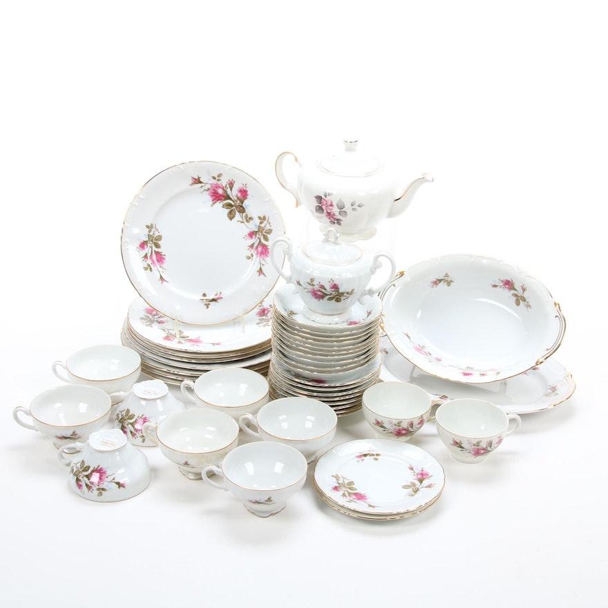 Ellgreave Teapot and Royal Rose Fine China Dinnerware