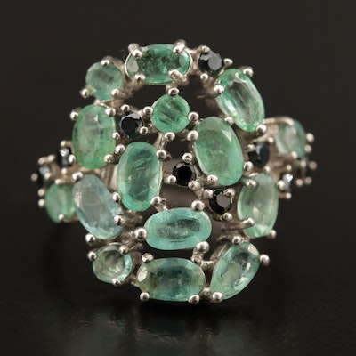 Sterling Silver Emerald and Black Onyx Cluster Ring