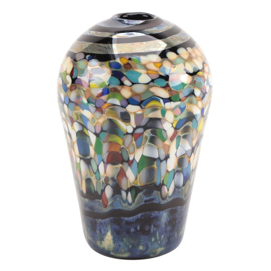 Elias Studio Multicolor Blown Art Glass Vase