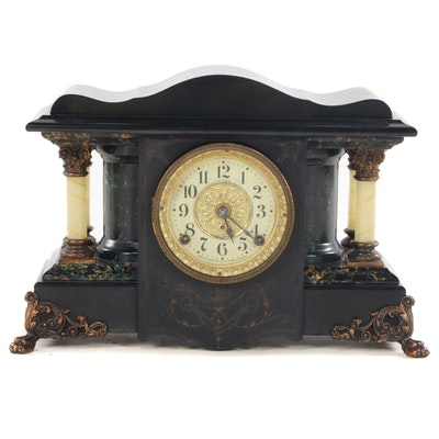 Seth Thomas Adamantine Mantel Clock, Late 19th Century