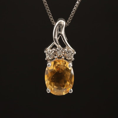 Sterling Citrine and Diamond Pendant Necklace
