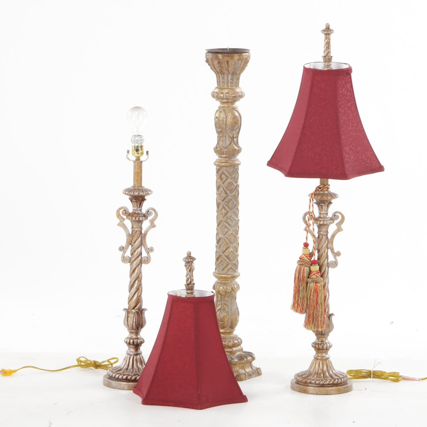 Decorative Resin Lamp Pair with Pricket Candle Holder