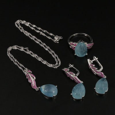 Sterling Silver Aquamarine and Ruby Jewelry Set