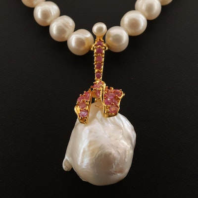 Sterling Pearl and Ruby Drop Necklace