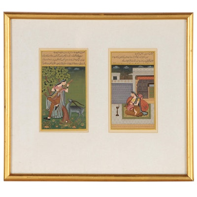 Hindu Miniature Illuminated Manuscript Gouache Paintings