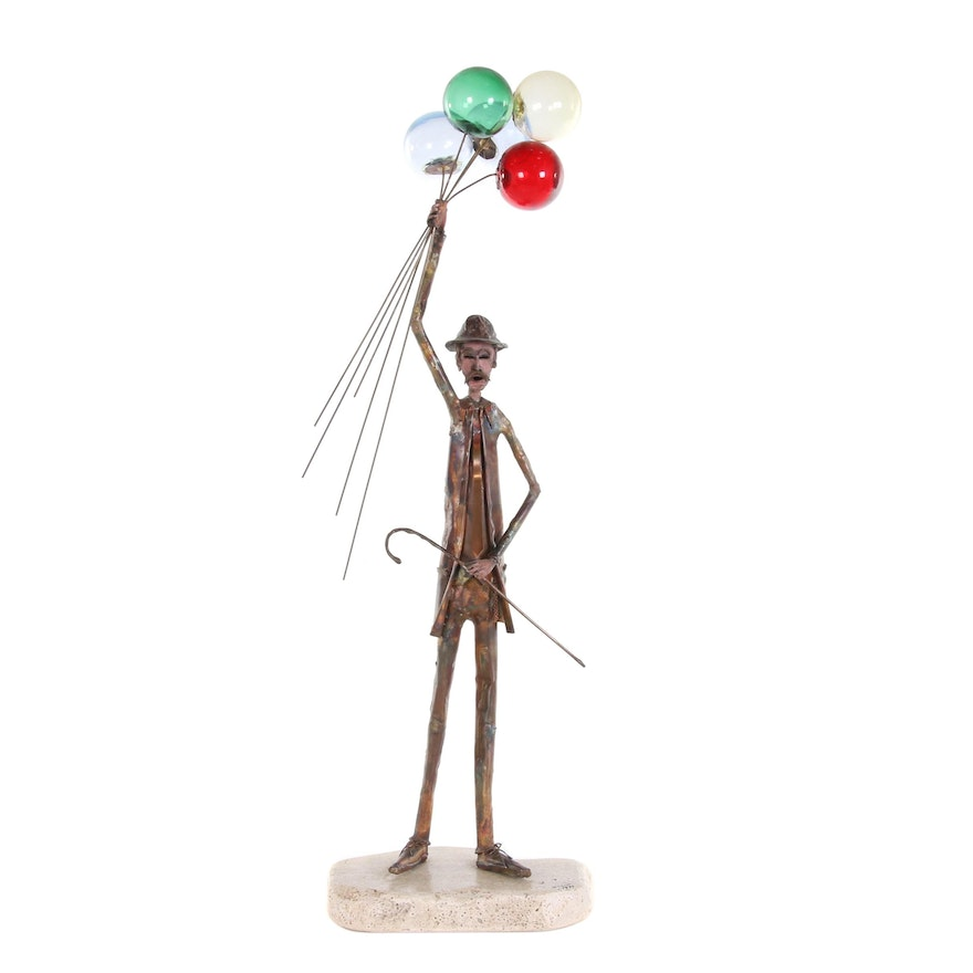Jim Lewk Copper and Glass Sculpture of Balloon Man