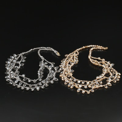 Crystal Fringe Necklaces with 14K Clasps