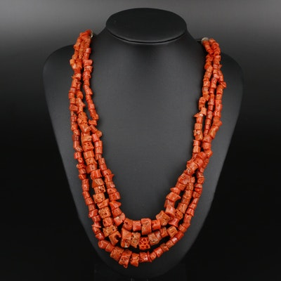 Triple Strand Coral Beaded Necklace with Sterling Clasp