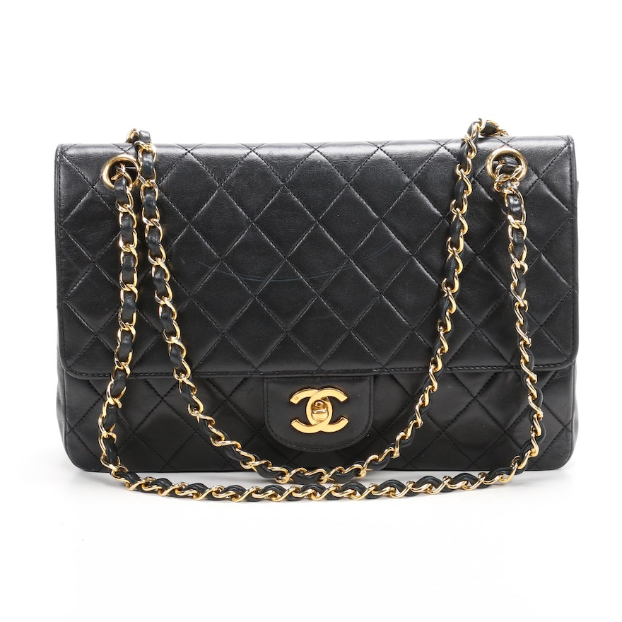 Chanel Classic Double Flap Bag in Black Quilted Lambskin Leather