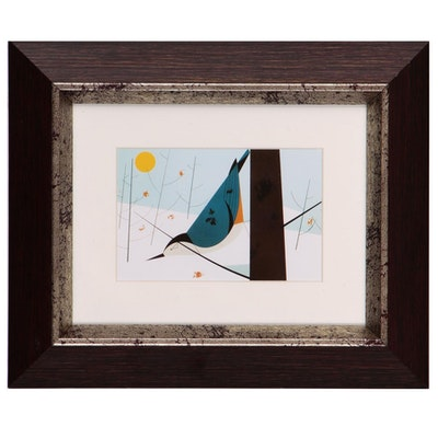 "Offset Lithograph after Charley Harper ""Blue Jay Bathing"""