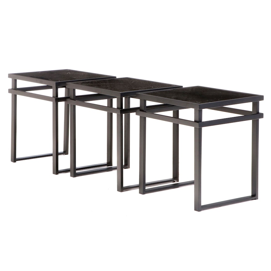 Contemporary Modern Tempered Glass Top Metal Side Tables