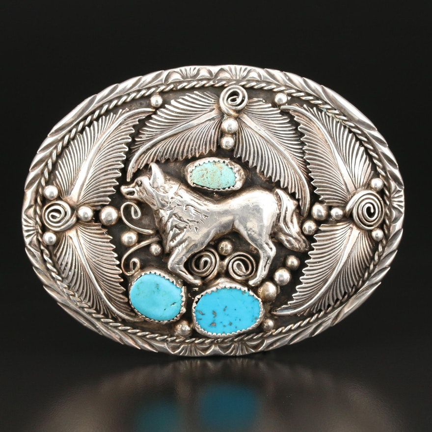 Southwestern Sterling Silver and Turquoise Wolf Belt Buckle